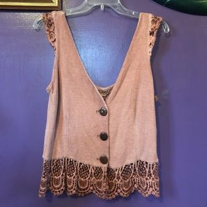 NWT Gimmicks by BKE rustic button up tank